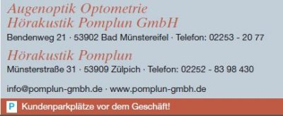 Pomplun, Augenoptik, Optometrie, Hörakustik in Bad Münstereifel, Filiale in Zülpich, Münsterstr. 31